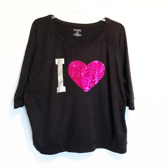 1bb96f223 Lane Bryant Tops | Plus Size 1820 I Heart Sequined Top | Poshmark